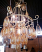 Chandelier with golden glass pendants