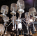 Industrial chandelier - silver washed gold