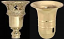 Typical metal holders for neck type funnel glass torchiere shades