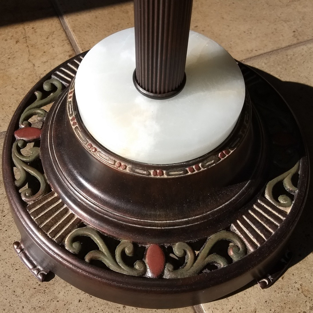 Art Deco 6 Way Floor Lamp Base Closeup