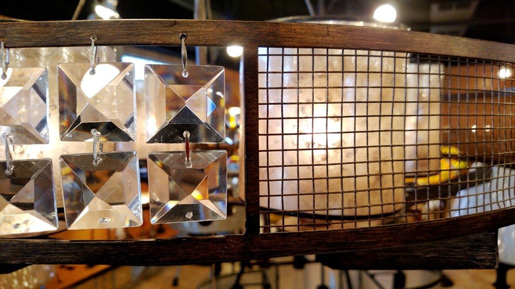 Bronze chandelier crystals & mica lampshades