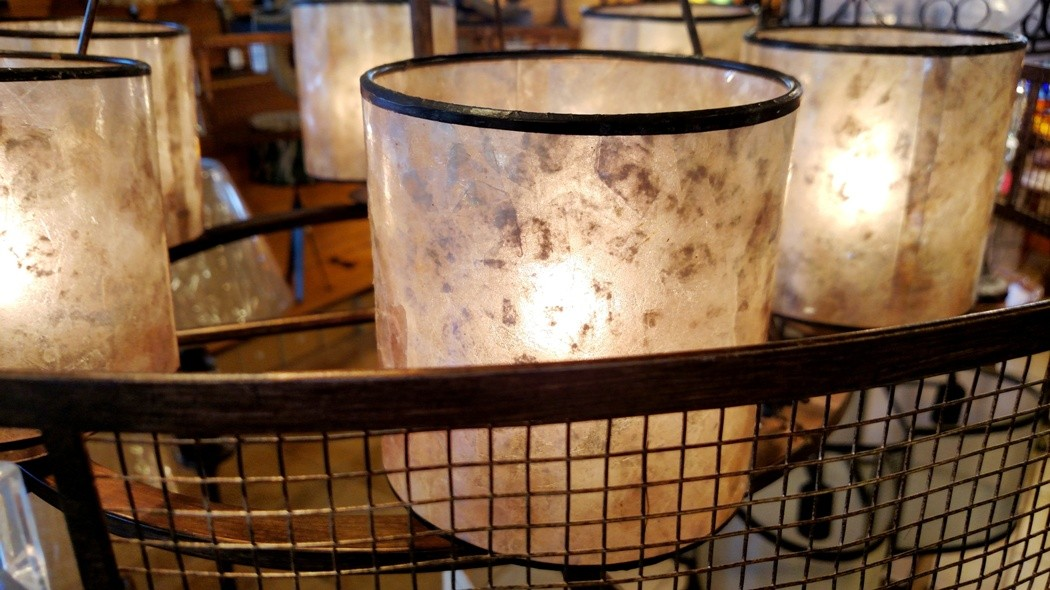Bronze chandelier mica lampshades