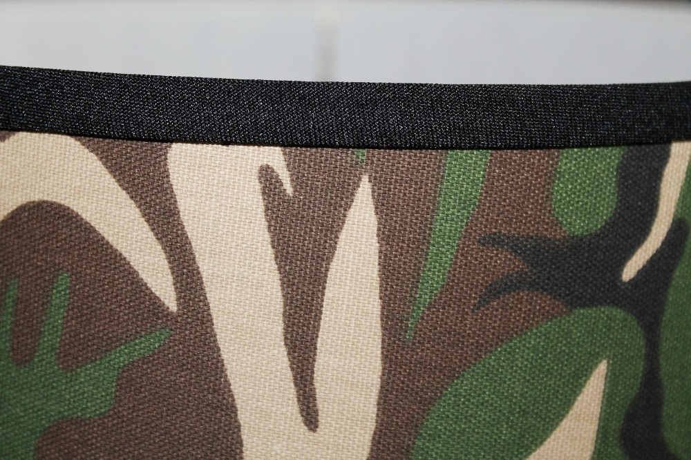 Camouflage drum lamp shade closeup