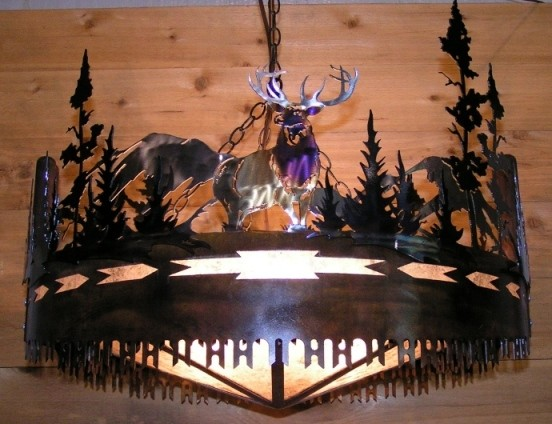 Moose Elk Trees Cross Cut Saw Chandelier Lamp Shade Pro