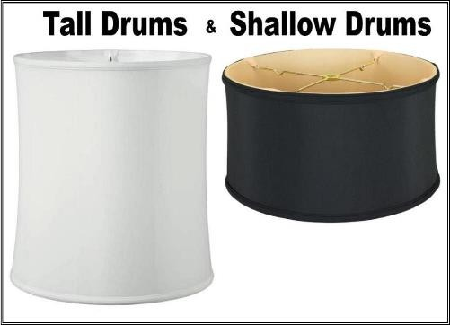 Drum lamp shades, tall and shallow shapes