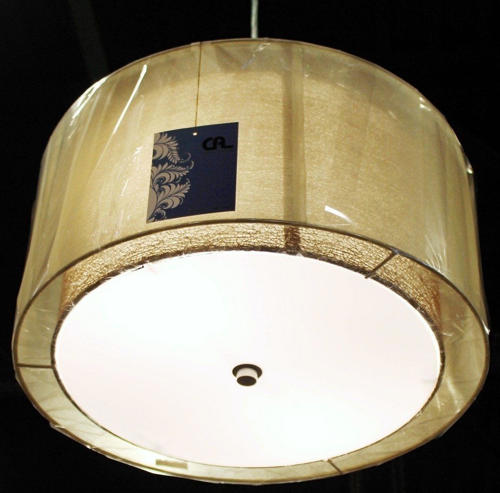 Sheer Burlap Drum Pendant Light Plug In Lamp Shade Pro