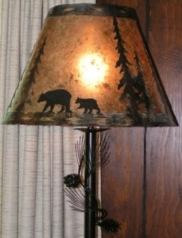 Bronze Pine Tree Limb Needles Floor Lamp Lamp Shade Pro