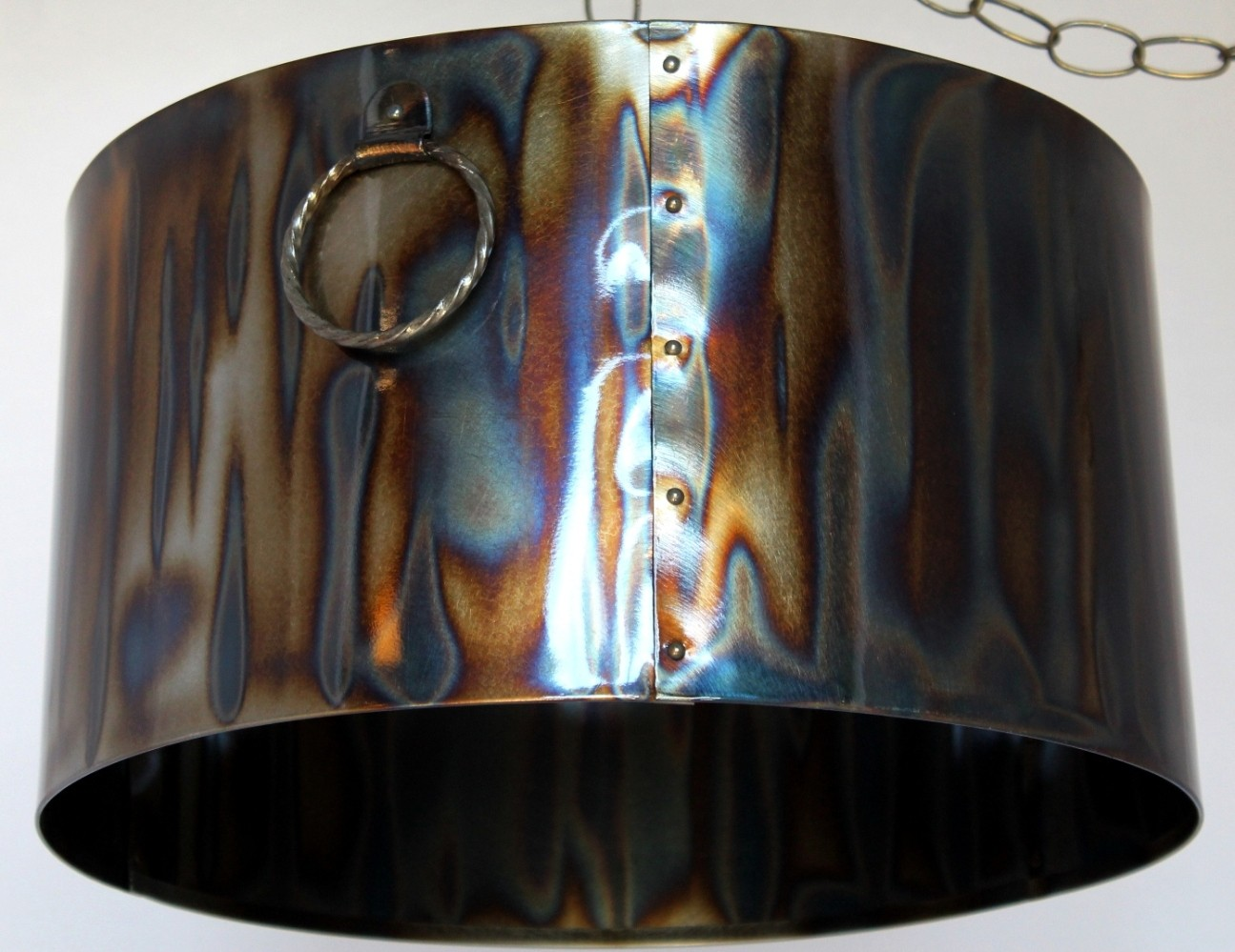 Torched metal lampshade