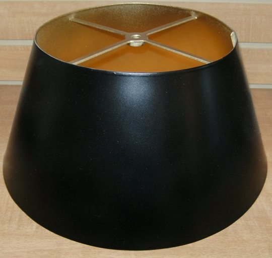 Black metal lamp shade with gold inside