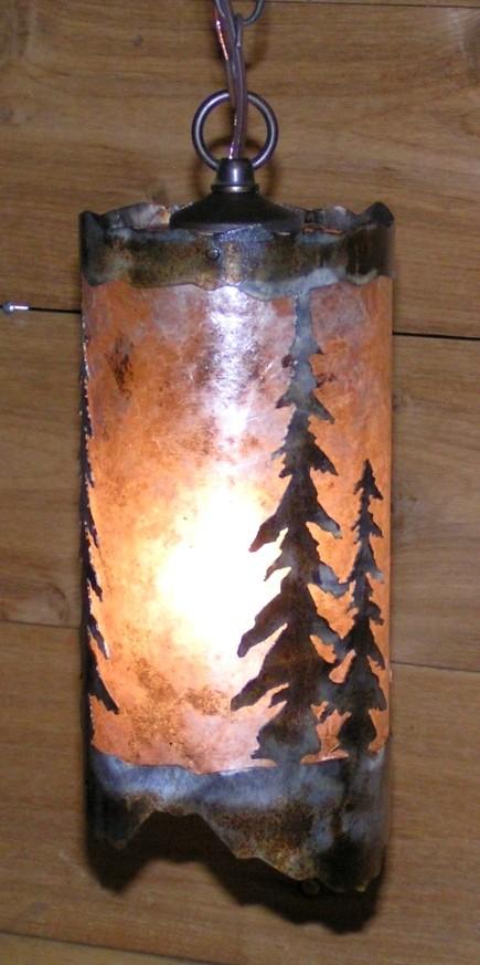 Mica pendant light rustic pine trees