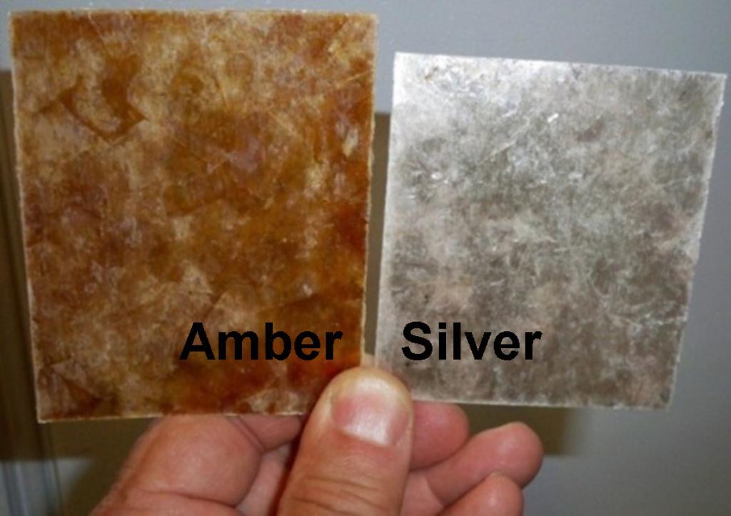 Mica shade samples amber and silver mica
