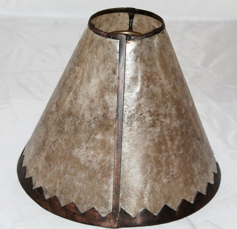 Silver mica lampshade jagged border