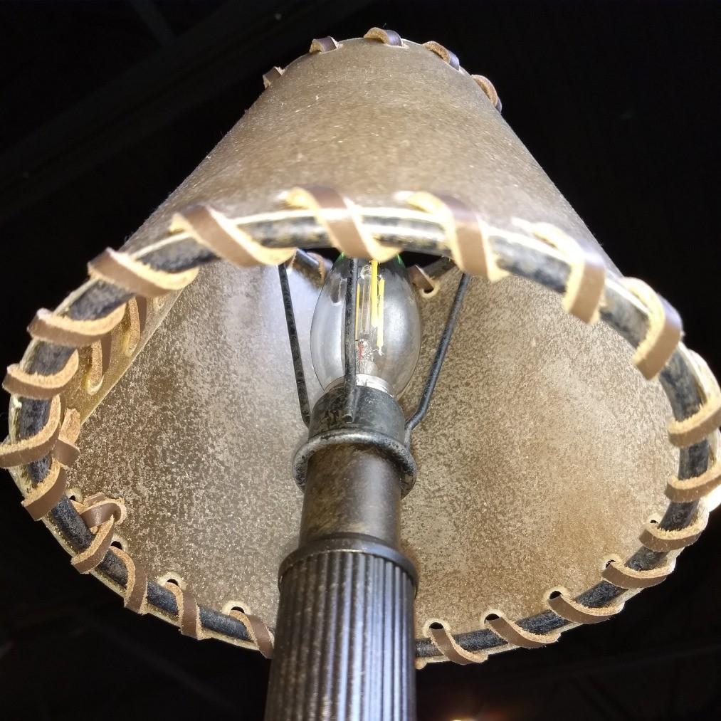 Rawhide Lampshade & Light Bulb