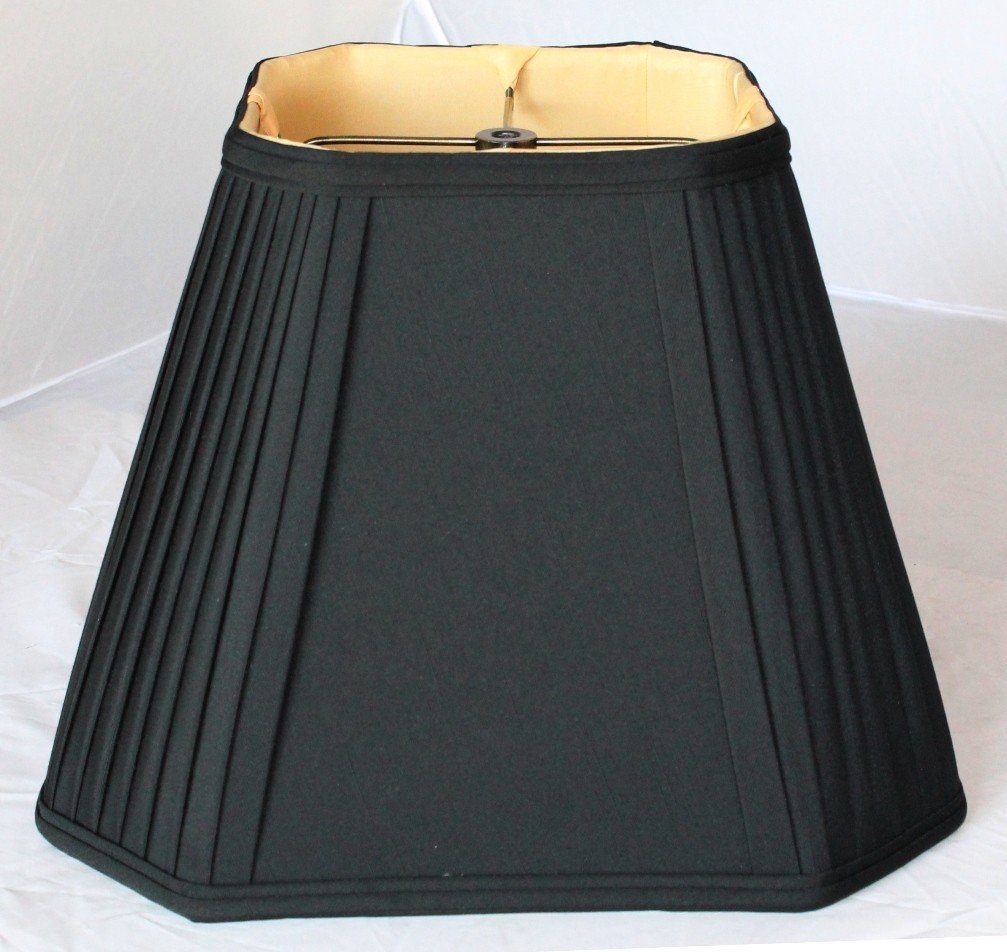 Black square lamp shade pleated corners