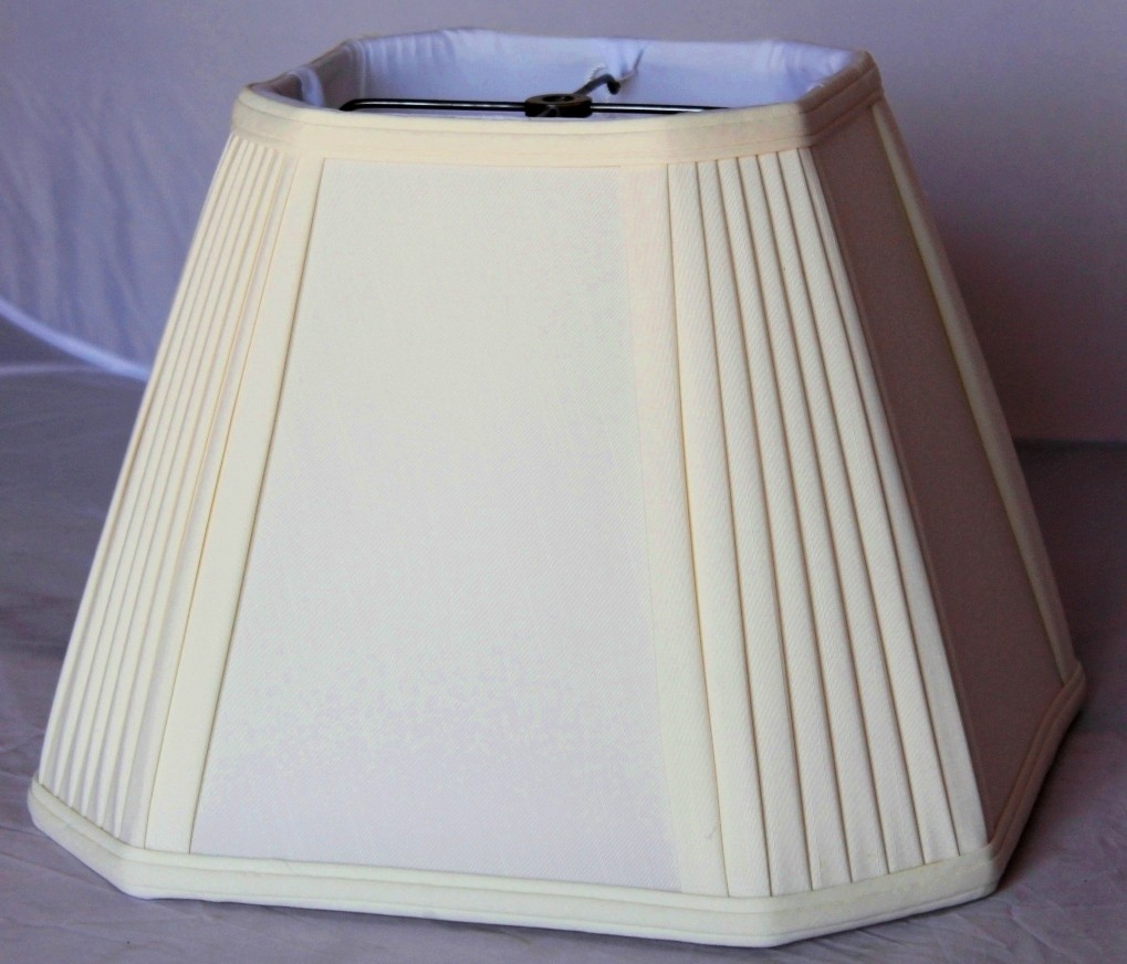 Cream square lamp shade pleated corners