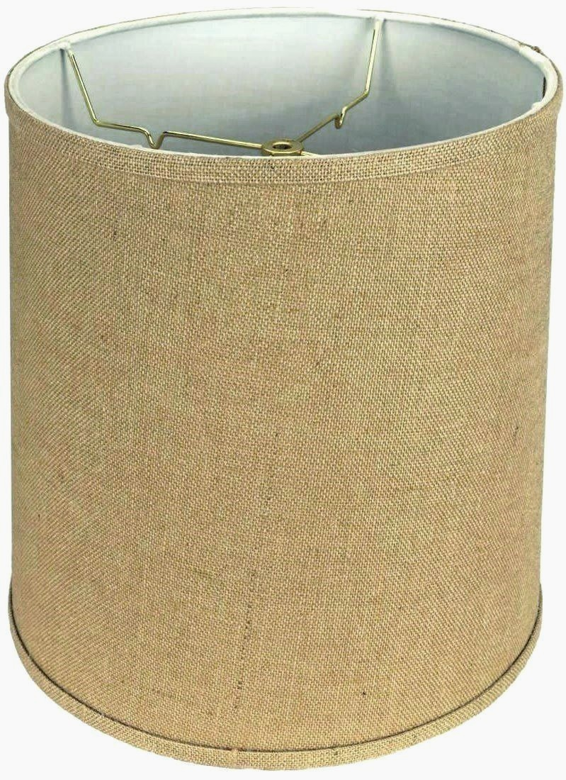 Tall Burlap Drum Lamp Shade