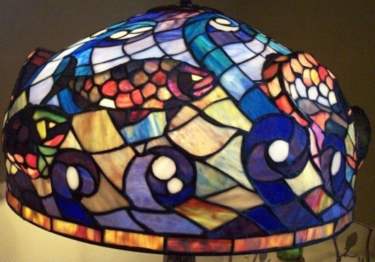 3d Fish Swimming In Waves Iron Base Tiffany Table Lamp 26 Quot H