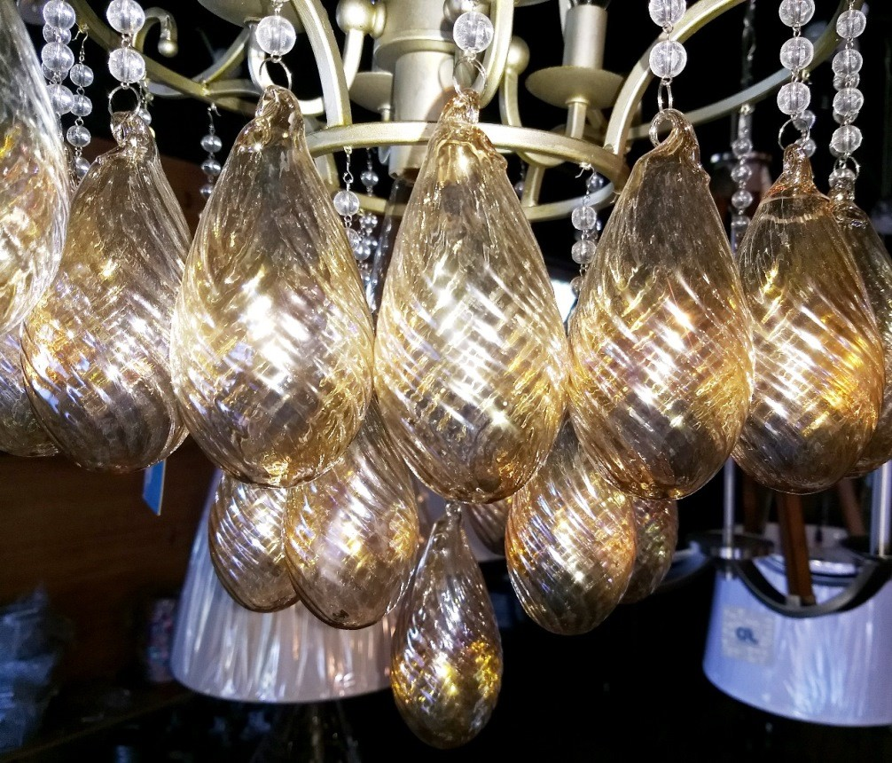Chandelier glass pendants close-up