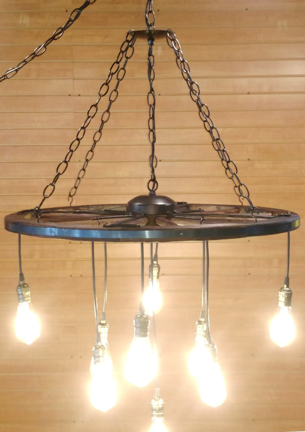 Wagon wheel chandelier swag lamp lamp shade pro wagon wheel chandelier or plug in swag lamp aloadofball Image collections