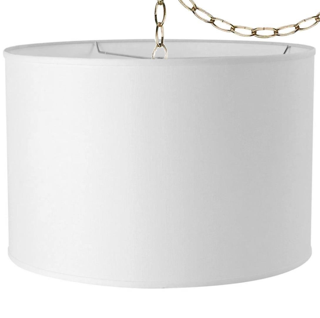 White Linen Drum Swag Light