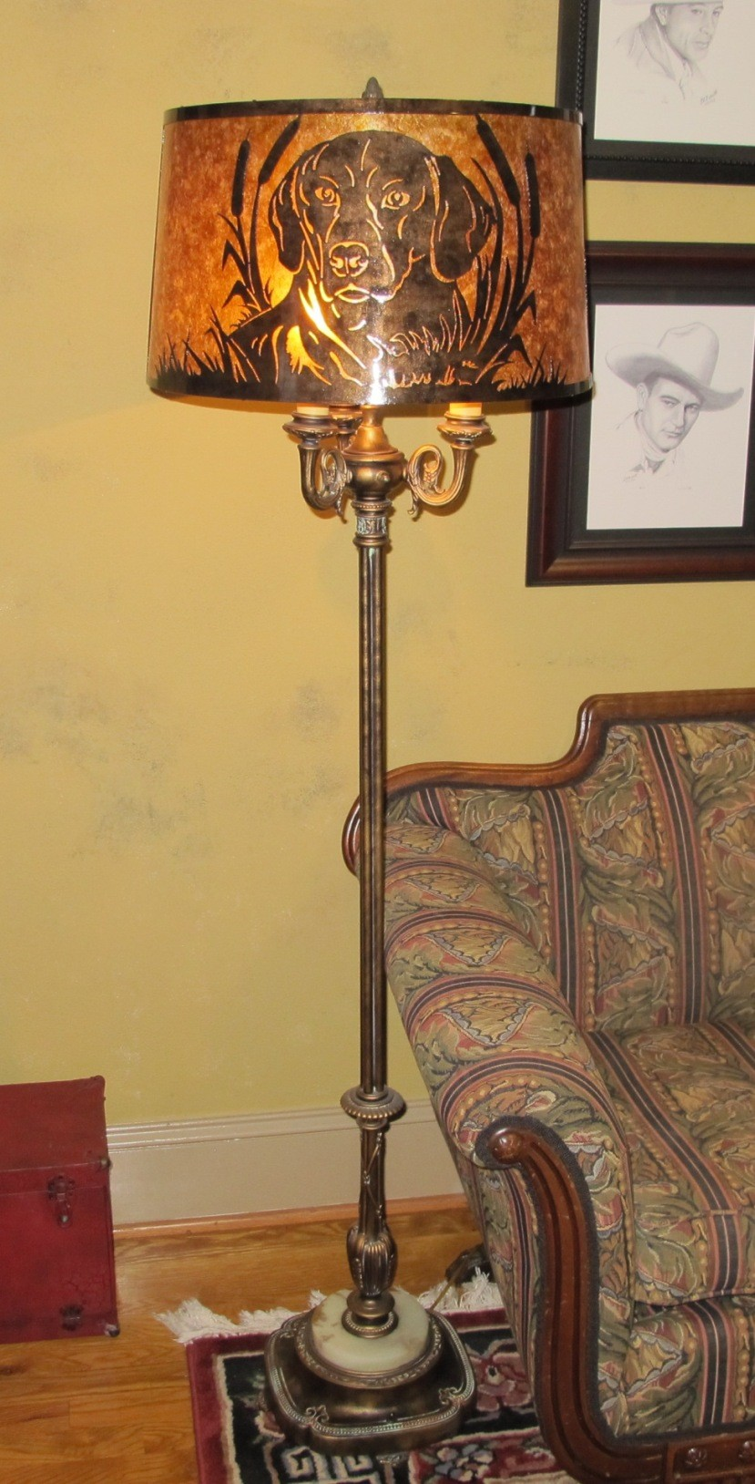 Wonderful 6 Way Lamp W/Custom Mica Shade   Jimu0027s Beloved Gracie Dog
