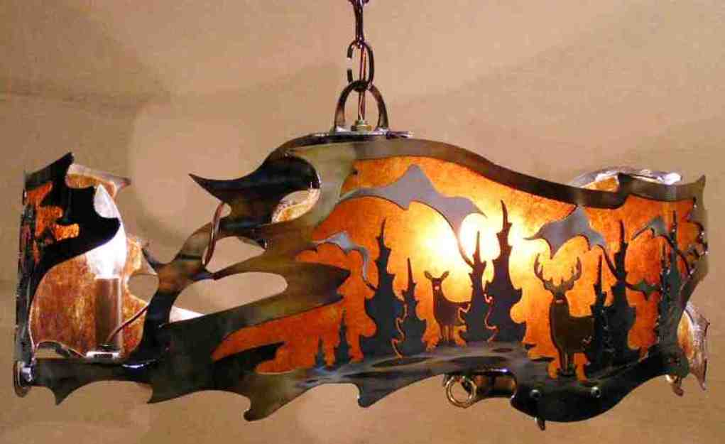 Free form mica metal chandelier 20 30 wide lamp shade pro deer pine trees mountains mica metal chandelier 20 30w aloadofball Image collections