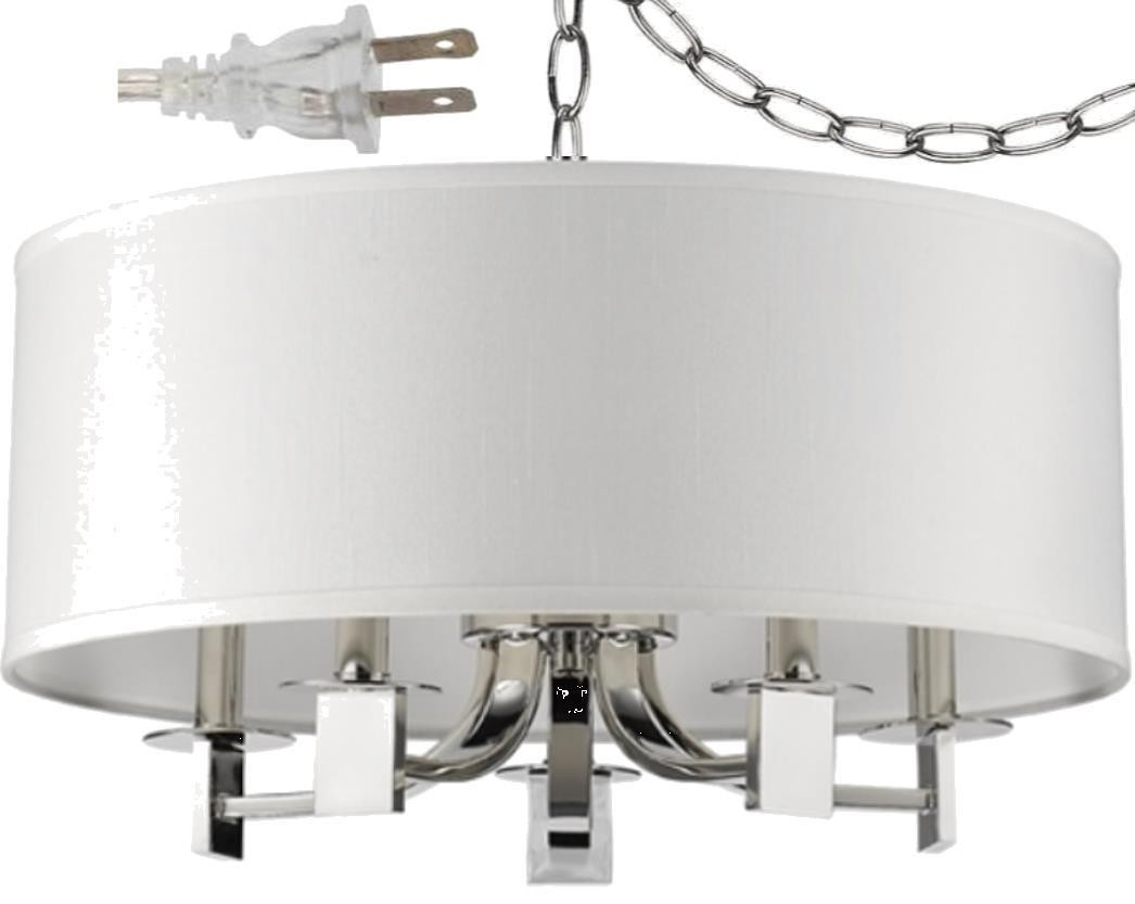 """Andrea Polished Nickel White Drum Plug In Pendant Light 20""""Wx13""""H"""