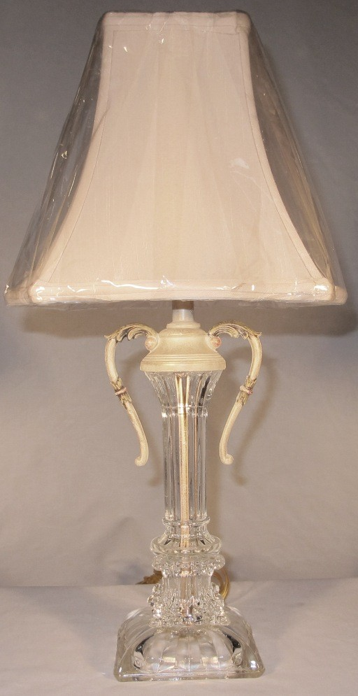 Genuine Vintage Art Deco Lead Crystal Lamp Lamp Shade Pro