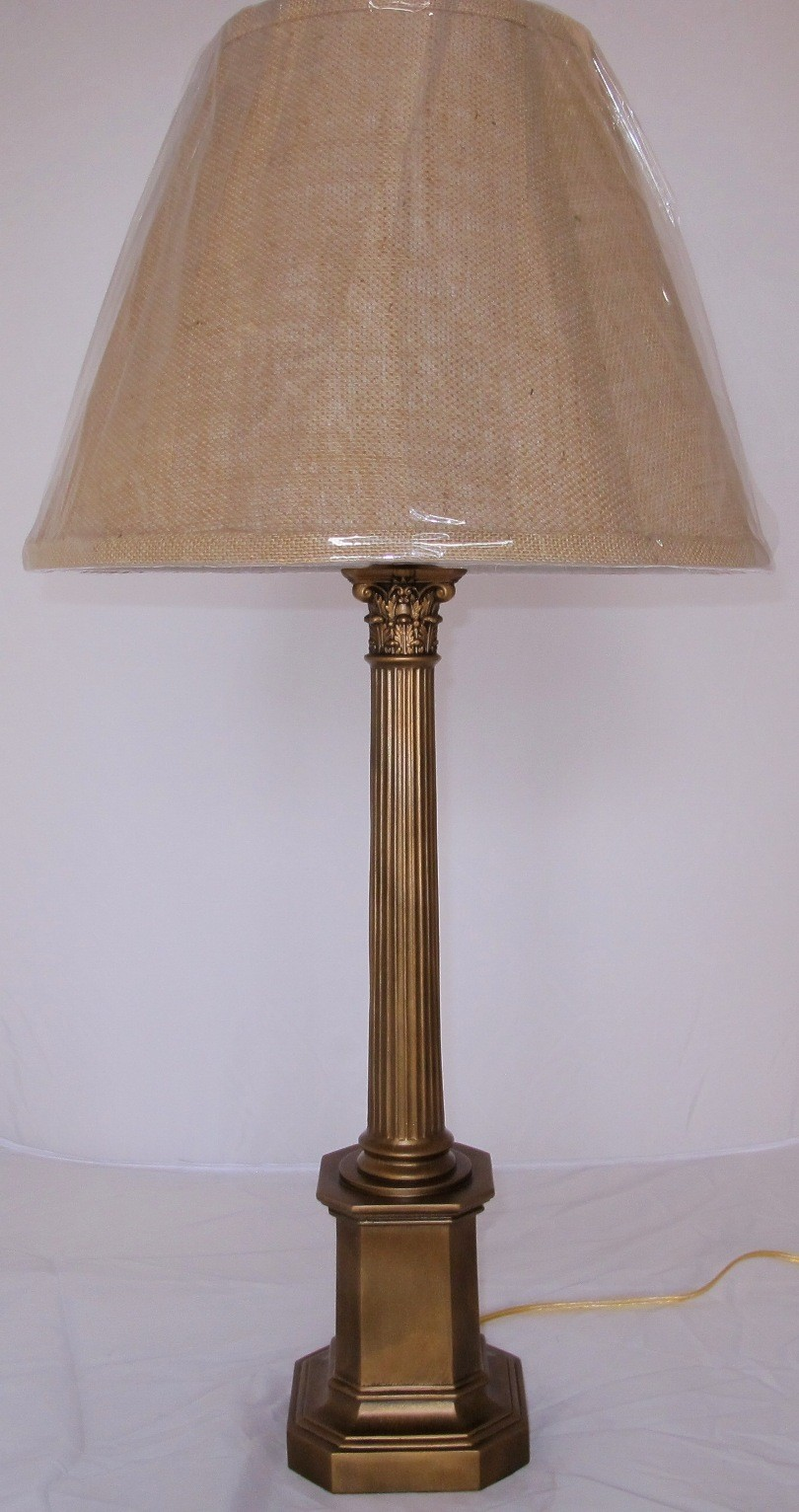 Vintage table lamp burlap shade lamp shade pro antique lamp burlap shade 315h sold geotapseo Choice Image