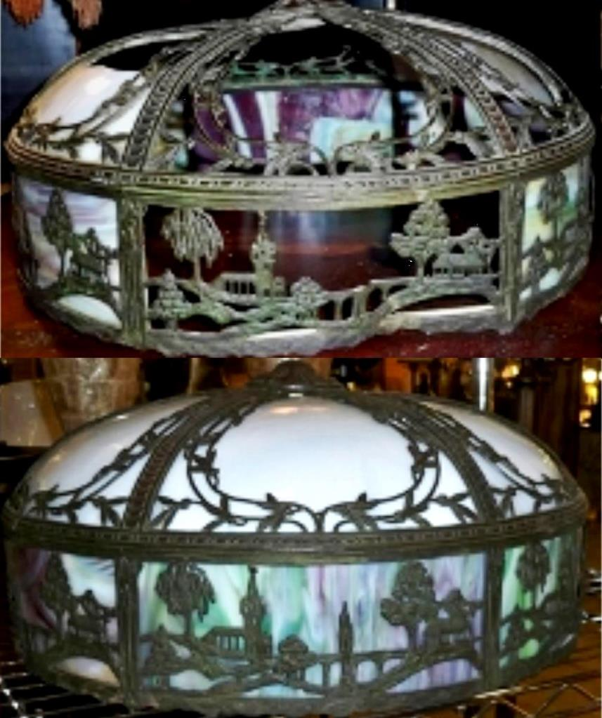Slag Lamp Shade Vintage 1900 Repair