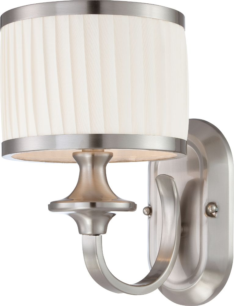 Wall Sconces With Drum Shade : Candice Brushed Nickel & Drum Shade Sconce Light 7