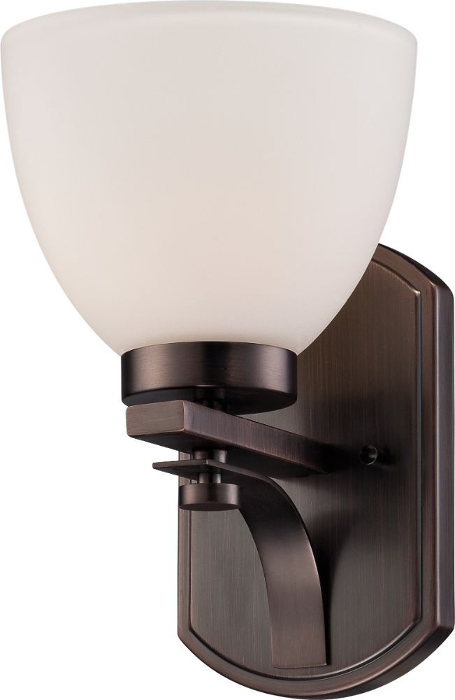 "Bentley Hazel Bronze Sconce Light Frosted Glass 7""Wx7""H"