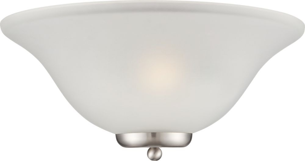 "Ballerina Brushed Nickel Bathroom Light Frosted Glass 16""Wx7""H"