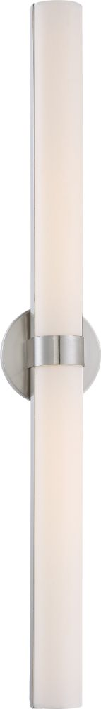 "Bond LED Brushed Nickel White Acrylic Sconce Light 6""Wx37""H"