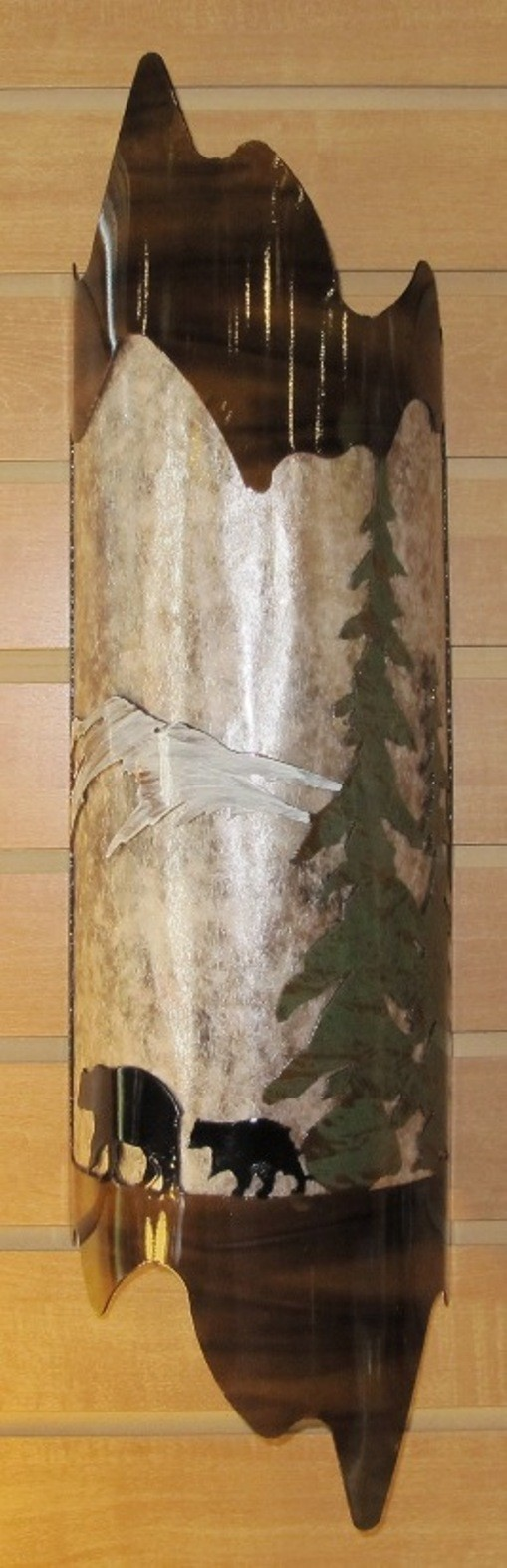 """Bear Family Pine Trees Torched Mica Sconce Light 6""""Wx22""""H"""