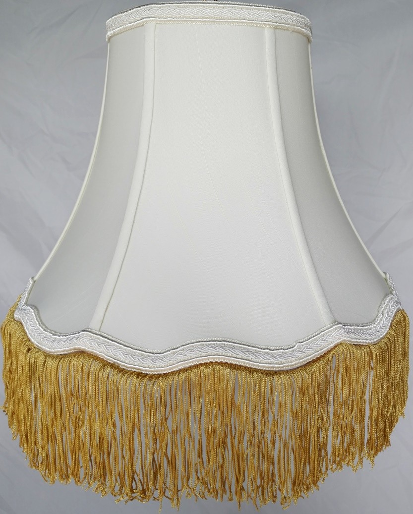 "Scallop Bell Silk Lamp Shade w/Fringe 10-18""W"