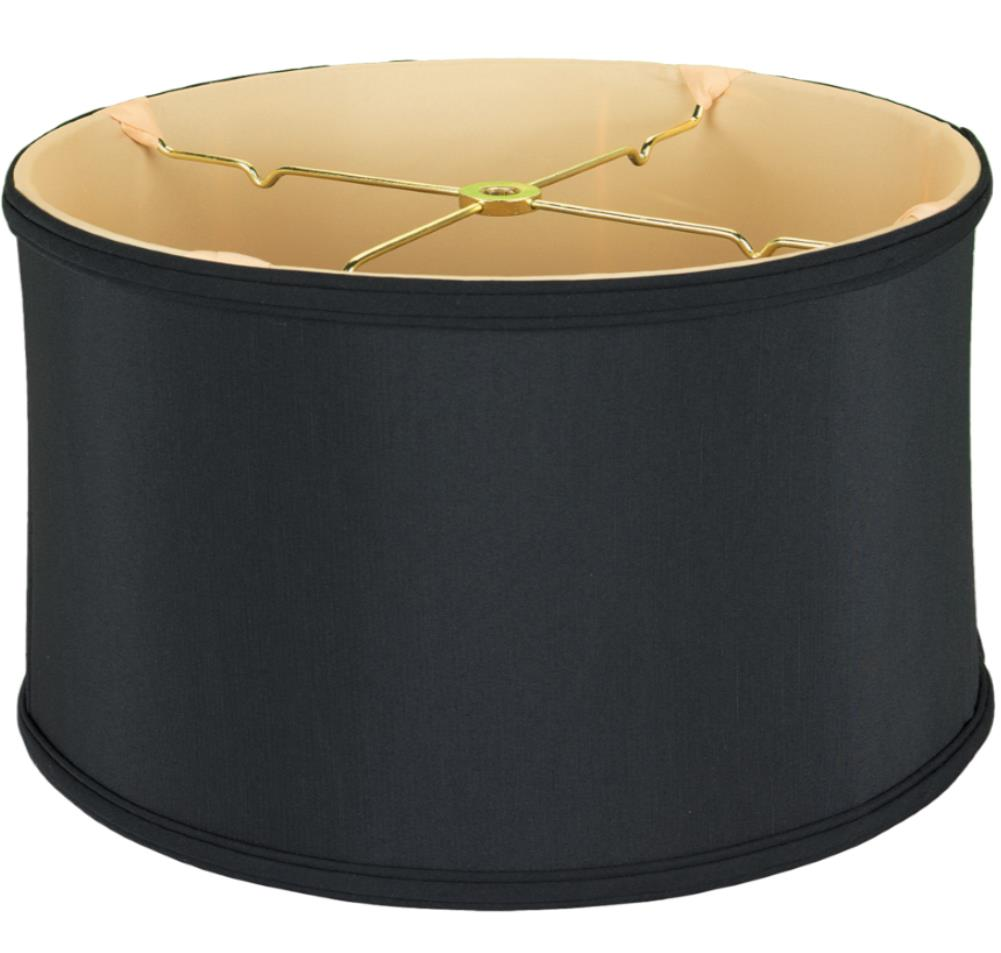 Black Silk Drum Lamp Shade 12 18 W