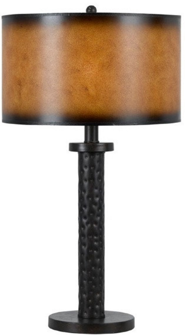 """Hand Forged Bronze Iron Table Lamp Parchment Drum Shade 26""""H - Sale !"""