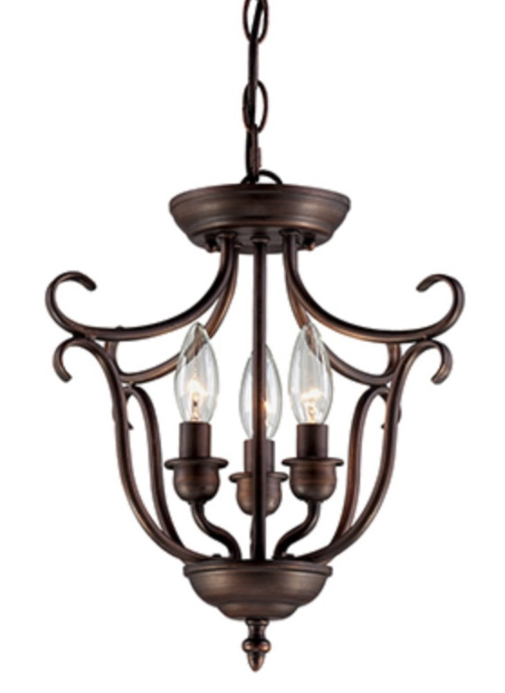 "Rich Caramel Finish Classic Bedroom Set W Options: Fulton Rubbed Bronze Candlestick Pendant Light 13""Wx13""H"