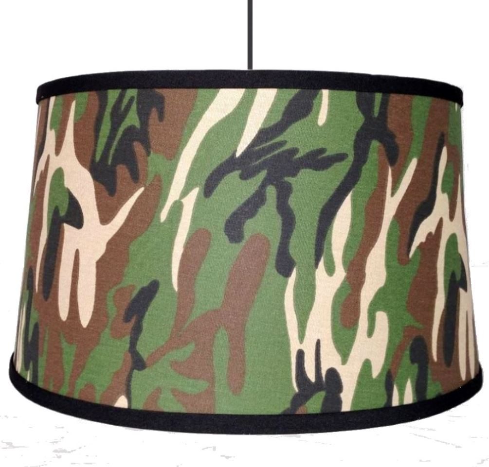 "Camouflage Drum Swag Lamp 15""W"
