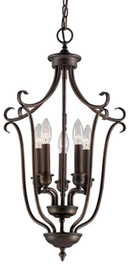 "Fulton Rubbed Bronze Candlestick Pendant 16""Wx27""H"