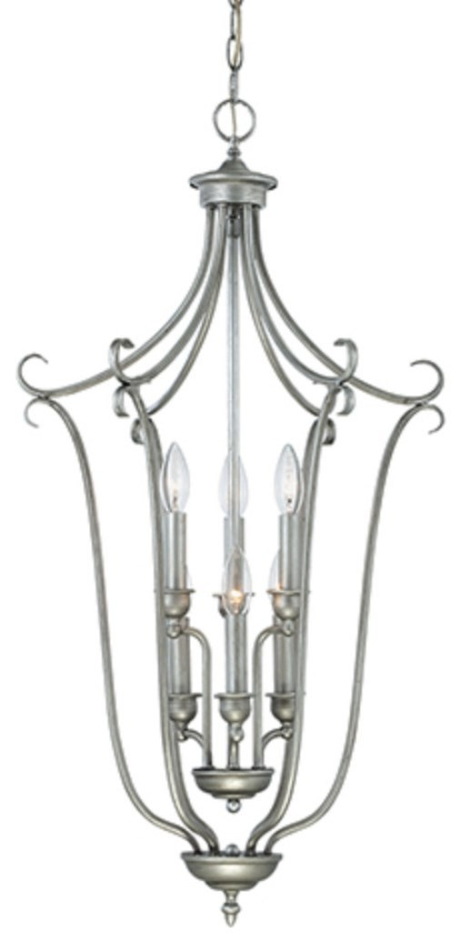 "Fulton Rubbed Silver Candlestick Pendant 18""Wx34""H"