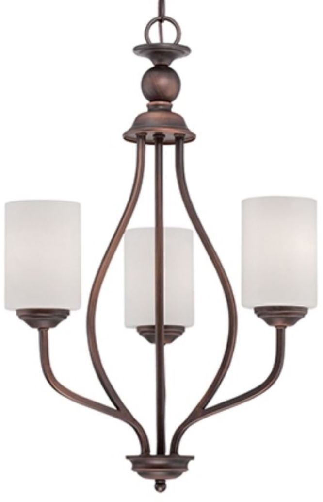 "Lansing Rubbed Bronze Chandelier White Drum Glass 18""Wx26""H - Sale !"