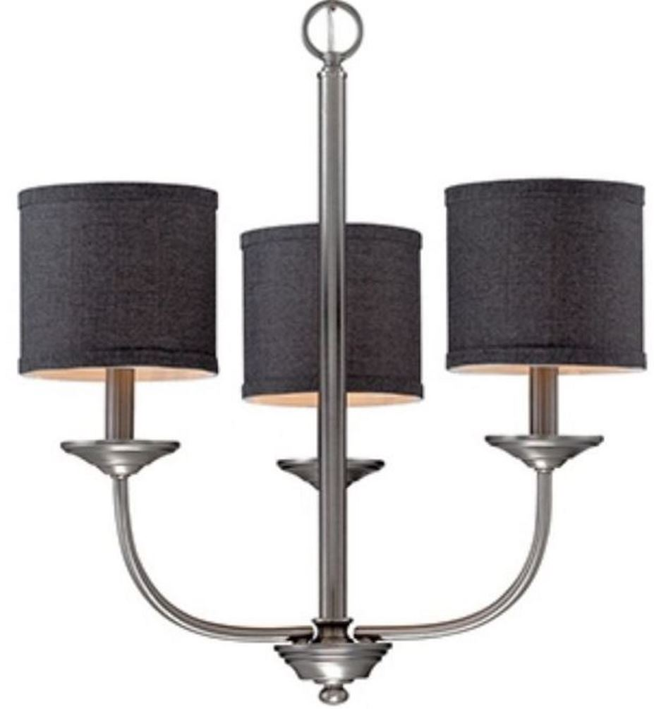 "Jackson Brushed Pewter Chandelier Dark Charcoal Drum Shades 21""Wx19""H"