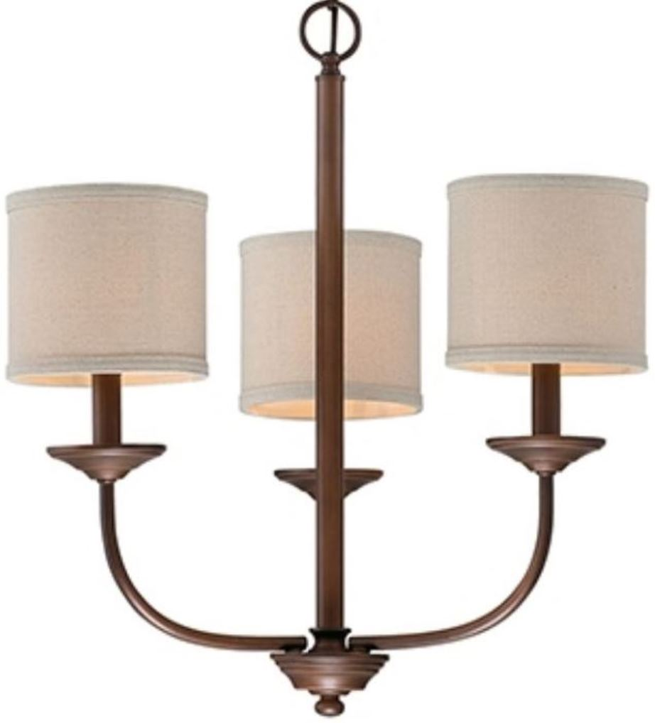 "Jackson Rubbed Bronze Chandelier Beige Drum Shades 21""Wx19""H"