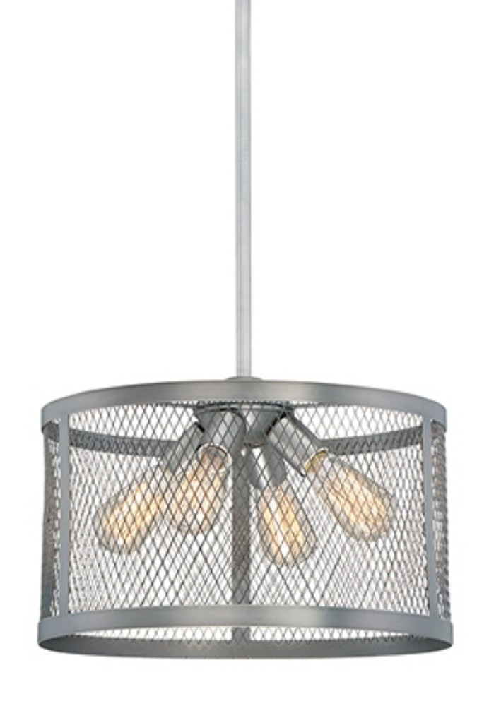 """Akron Brushed Pewter Wire Mesh Drum Pendant Light 16""""Wx48""""H"""
