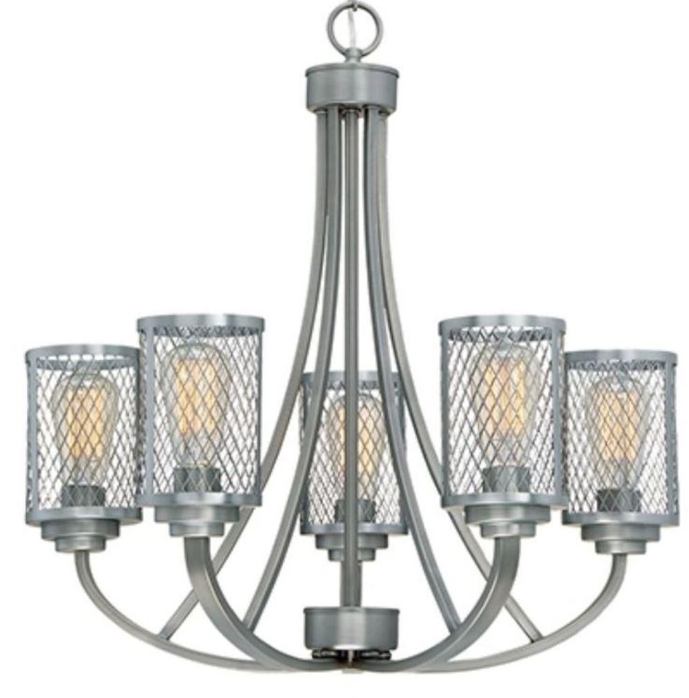Akron Brushed Pewter Chandelier Mesh Drum Shade 25\