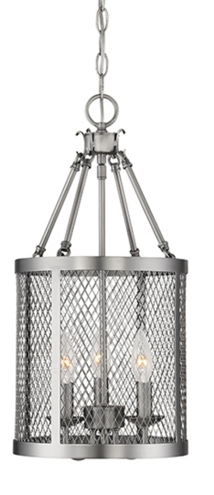 Akron Brushed Pewter Chandelier Pendant Mesh Drum Shade 10\