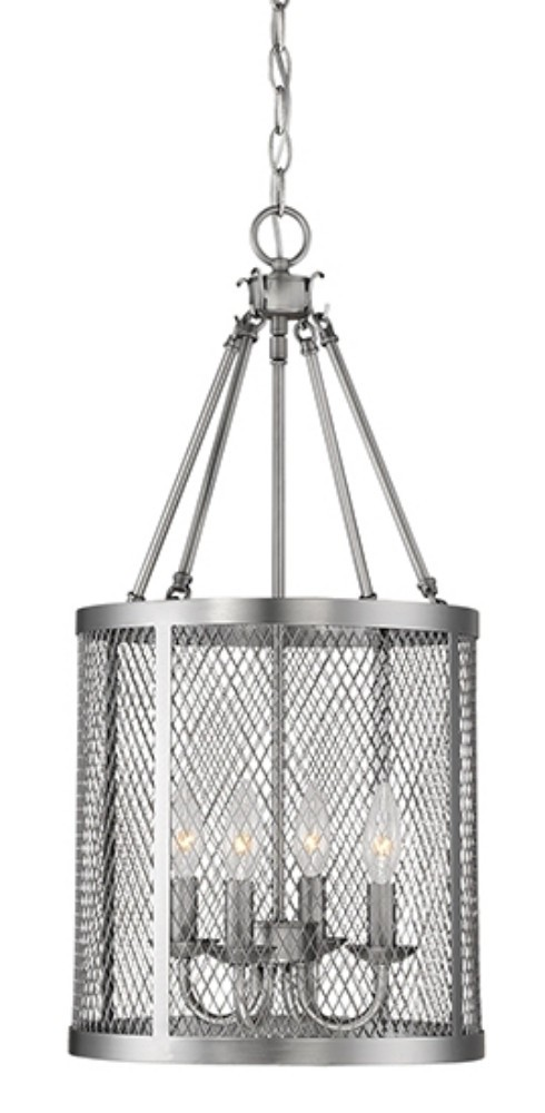 Akron Brushed Pewter Chandelier Pendant Mesh Drum Shade 12\