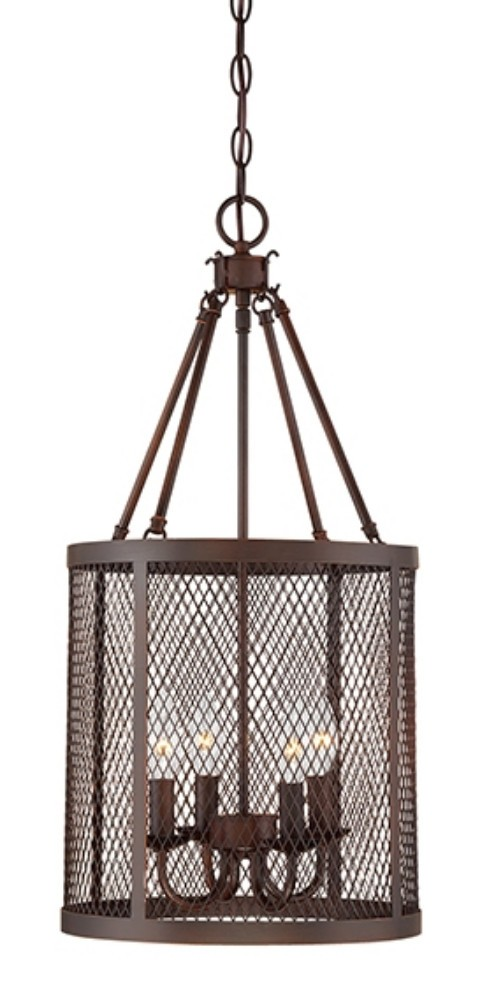 "Akron Brushed Bronze Wire Mesh Drum Foyer Light 12""Wx24""H"